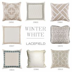 Winter White pillows from Lacefield  www.lacefielddesigns.com  #interiors #whitedecor #pillows
