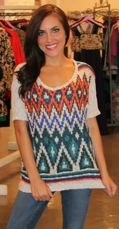 Dottie Couture Boutique - Short Sleeve Printed Sweater, $39.00 (http://www.dottiecouture.com/short-sleeve-printed-sweater/)