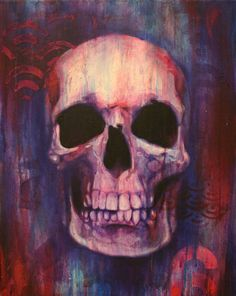 bc6a8ed96f3 Skull painting created with Watercolor and Acrylic paint. Painting created  with stencils and many layers of paint. Image size x Skull