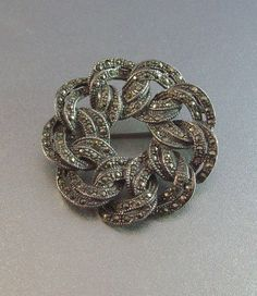 Vintage Sterling Marcasite Brooch Dimensional by LynnHislopJewels