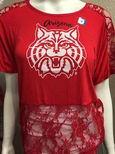 94a1c82ee29c3 University of Arizona Wildcats Red T With Lace – The Cat Cart University Of  Arizona,