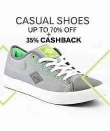 Paytm Casual Shoes Sale Offer : Upto 80% OFF + Extra 35% Cashback - Best Online Offer