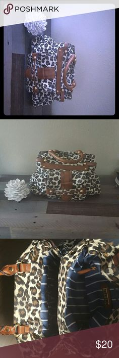 FINAL SALE! Steve Madden Leopard Print Satchel Steve Madden Leopard Print Satchel...very retro with plenty of space...double pockets with cute blue and white lining...Great Condition! Steven by Steve Madden Bags Shoulder Bags