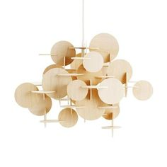 Buy Bau Pendant Lamp from Normann Copenhagen. In German, Bau means construction, and it is exactly the Bau lamp's construction that creates its intrigui. Wooden Chandelier, Chandelier Lamp, Pendant Lamps, Chandeliers, Pendant Lighting, Schmidt, Hanging Lamp Design, Hanging Lamps, Hanging Lights