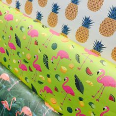 Tropical Flamingo and Pineapples Gift Wrap