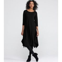 Eileen Fisher Ballet Neck Knee-Length Dress With Dipped Hem in Viscose Jersey Xs Black