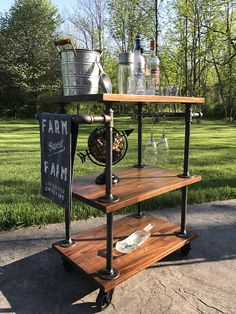 Local Pickup Only Industrial Bar Cart Cast Iron Pipe Bar