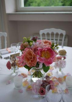 hortensia - lisianthus - pivoine - rose  Centre de table, Mariage
