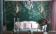 Modern chinoiserie 'Pagoda Tree' design from Misha wallpaper, hand painted on Forest Green dyed silk.