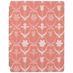 Art Nouveau Spring Bulbs  Monogram - Coral White iPad Smart Cover - floral style flower flowers stylish diy personalize