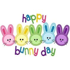 Happy Bunny Day Applique - 3 Sizes! | Easter Applique Machine Embroidery Designs | Machine Embroidery Designs | SWAKembroidery.com