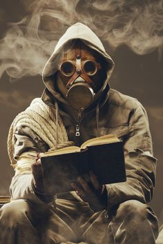 Photo about Post apocalyptic survivor in gas mask reading a book. Image of loneliness, people, rope - 31570318 Gas Mask Art, Masks Art, Apocalypse Survival, Zombie Apocalypse, Apocalypse Costume, Biohazard, Arte Dope, Apocalypse Fashion, Mad Max