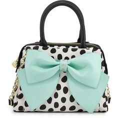 Betsey Johnson Ready Set Bow Dot-Print Satchel Bag ($57) ❤ liked on Polyvore featuring bags, handbags, dot, polka dot handbag, green purse, betsey johnson bags, green handbag and handbag satchel