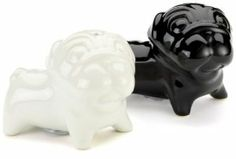 Present Time Ceramic Mops Dogs Salt and Pepper Set, Black and White by Present Time co. $8.91. Set of 2. Decorative and functional. Set of 2 shakers. Adorable black and white mops dogs salt and pepper shakers. Ceramic with rubber stoppers. Each shaker measures 1.4 by 4.2 by 2.8-inch. Adorable black and white mops dogs salt and pepper shakers are a fun addition to any dinner table. Ceramic with rubber stoppers. Set of 2. Each shaker measures 1.4 by 4.2 by 2.8-inch.
