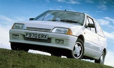 Citroen AX GT.  1.4 8v on carbs. Same engine as 205 XS. 88bph as standard, 0-60 8.2 secs as standard.   Origianl GT's only came with three stud hub patterns, later (GTi) models had four studs.