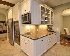 images of mounted microwave in kitchen Upper Cabinets, White Kitchen Cabinets, Kitchen Cabinet Design, Ikea Kitchen, Kitchen Redo, Room Kitchen, Kitchen Backsplash, Tile To Wood Transition, Mounted Microwave