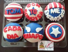 Capitán america cupcakes