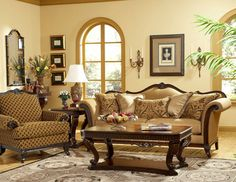 Sevilla - Old World Wood Trim Fabric Sofa Chair Set Living Room Furniture.old world doesn' thave to be dark colors Formal Living Rooms, Living Room Sets, Living Room Furniture, Couch And Chair Set, Sofa Chair, Tuscan Furniture, Furniture Redo, Ottoman Sofa, Wood Trim