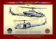 """HMLA-369-35x50-pale_yellow-min    UNITED STATES MARINE CORPS    MARINE LIGHT ATTACK HELICOPTER SQUADRON 369 """"GUNFIGHTERS""""  MARINE CORPS AIR STATION CAMP PENDLETON Attack Helicopter, Military Helicopter, Military Aircraft, Camp Pendleton, Military Operations, Us Marine Corps, Aviation Art, War Machine, Cutaway"""