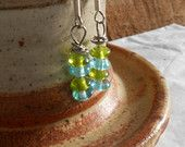 Earrings ~ Small Happy Spring Green and Blue Drop Earrings ~ Simple Stacked Happy