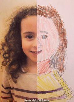 Half Self-Portraits Project by Hannah's Art Club. - Art is a Way Paint, omakuva Club D'art, Art Club, Arte Elemental, Classe D'art, Kindergarten Art Projects, Kindergarten Self Portraits, Ecole Art, Preschool Art, All About Me Preschool Theme