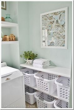 "Coastal Laundry Room Makeover in ""Rainwashed"" + Laundry Sorting Station"