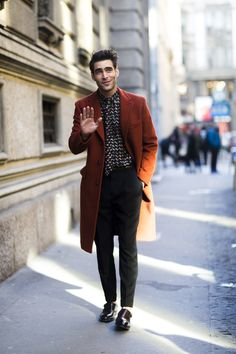 Autumn Winter street style 2017. That burnt orange coat is incredible and so are the shoes and the shirt!