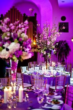 Gorgeous Bright Purple Wedding Reception and Floral Centerpieces