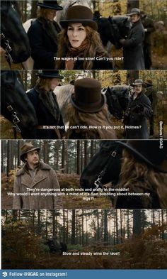 Homes afraid to ride a horse, and lags behind on his little pony. -It's not as if Germany is going somewhere. - slow and steady wins the race. Sherlock Holmes Robert Downey, Sherlock Bbc, Robert Downey Jr, Name That Movie, Movie Tv, Holmes Movie, Elementary My Dear Watson, Literary Characters, Movies