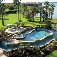 I NEED a lazy river in my backyard. I want that more than a pool or hot tub! well, I want the hot tub. but I'll just take a hot tub & a lazy river, leave out the pool! Lazy River Pool, Backyard Lazy River, Outdoor Spaces, Outdoor Living, Outdoor Pool, Outdoor Kitchens, Dream Pools, Cool Pools, Awesome Pools