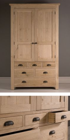 The elegant Tall Alderman Gents Oak Wardrobe #wardrobe #bedroom #indigofurniture