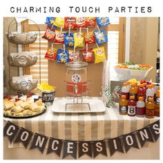 Football/basketball/baseball/soccer Chalkboard inspired CONCESSIONS banner for by CharmingTouchParties Sports Themed Birthday Party, Basketball Birthday Parties, Football Birthday, Boy Birthday Parties, Birthday Party Decorations, Basketball Party, Softball Party, Football Party Decorations, Sports Theme Baby Shower