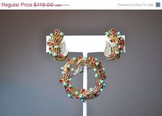 Vintage Ciner Swirl Jewelry Set, Faux Turquoise, Ruby Red Rhinestone, Swirling, Leaves, Demi Parure, So Gorgeous! #A786