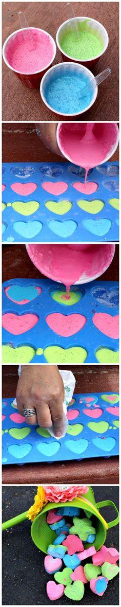 DIY Sidewalk Chalk --Great non-candy Valentine's gift!!