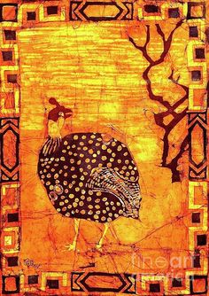 Guinea Fowl. #batik on fabric by Caroline Street.  #guineafowl #grouse #birdart #dyes
