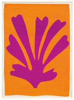 "I love the way that bright pink and orange both contrast and compliment each other, Artist: Henri Matisse (1869 -1964), Title: Violet Leaf on Orange Background (Palmette), 1947.  From the web site, an article entitled ""Henri Matisse: The Cut-Outs at Tate Modern – in pictures"", dated 14th April 2014. Photograph: Mr and Mrs Donald B Marron, New York/Succession Henri Matisse /DACS 2014"