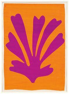 Henri Matisse Palmette (Feuille violet sur fond orange), Gouache on paper, cut and pasted. 28 x © 2014 Succession H. Matisse, Paris / Artists Rights Society (ARS), New York. Henri Matisse, Matisse Kunst, Matisse Art, Matisse Tattoo, Picasso Tattoo, Matisse Prints, Matisse Drawing, Matisse Paintings, Picasso Paintings