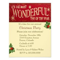 Most Wonderful Time Christmas Party Personalized Invite by Sand Creek Ventures