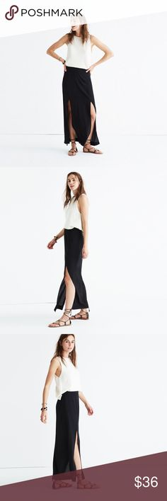Madewell || silk two-slit maxi skirt NWOT - great for layering or for the spring/summer for a comfortable airy skirt! It is silk and brand new hence the price. Descriptions of the item is on the fifth photo ☺️ will only accept fair offers. Madewell Skirts Maxi