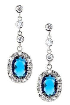 Sterling Silver Sapphire Oval CZ Dangling Earrings