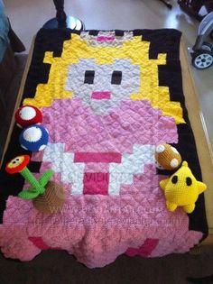 Princess Peach pixel crochet blanket by TetheredCat on deviantART