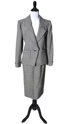 Dressing Vintage - 2 pc YSL Yves Saint Laurent Rive Gauche Houndstooth Wool Vintage Suit, $625.00 (http://dressingvintage.com/2-pc-ysl-yves-saint-laurent-rive-gauche-houndstooth-wool-vintage-suit/)
