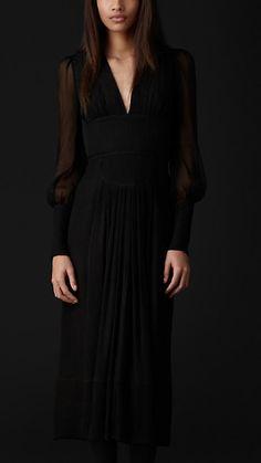 Burberry Prorsum Sheer Sleeve Silk Dress