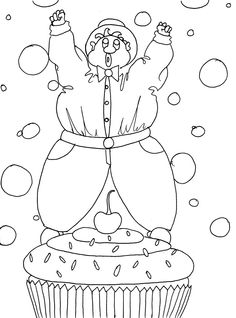 Conquering the Cupcake! - Funny Adult Coloring Page by Chubby Art Cartoons DIY Printable Coloring Pages Be the Cherry on top & Love Cupcakes by ChubbyArtCartoons on Etsy