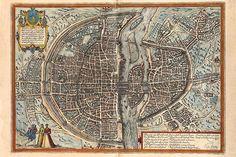 Plan de Paris (fin XVIème siècle). Noter la dissymétrie entre rive droite (au Nord) et rive gauche (au sud), la plus développée.
