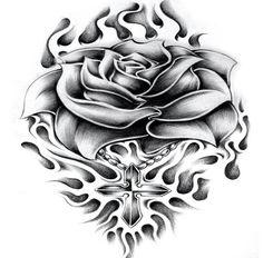 Rose Skull Tattoo Design, Tattoo Design Drawings, Skull Tattoos, Tattoo Sketches, Tattoo Designs Men, Body Art Tattoos, Hand Tattoos, Sleeve Tattoos, Tatoos