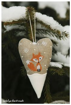 Cross stitched fox heart ornament. Natalya Heart Made. #embroidered #needlework