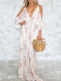 White Cold Shoulder Plunge Tie Back Floral Print Maxi Dress Backless Maxi  Dresses 260f4b899