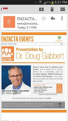 Dr. Doug is coming soon in Tucson Az. The conference is completely free. Coming and learn about ENZACTA products.