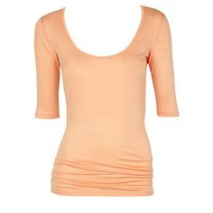 Ruched-Side Elbow Sleeve Tee ($19) ❤ liked on Polyvore